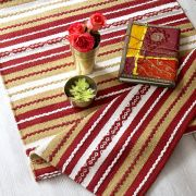 Indian handicraft carpet cotton red Dari