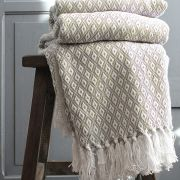 Indian cotton sofa throw beige and white