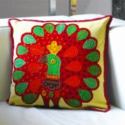 Cushion cover Peacock burgundy L40