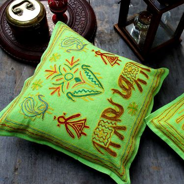 Indian cushion cover green