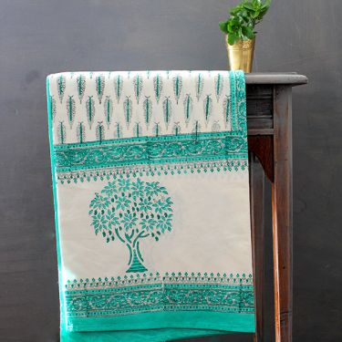 Indian printed cotton table cover green and white