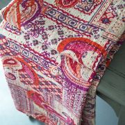 Indian handicraft bed cover Kantha pink and white