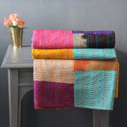 Indian handicraft patchwork bed cover Kantha