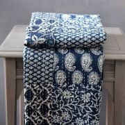 Indian handicraft bed cover Kantha navy blue