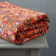 Indian handicraft bed cover Kantha orange