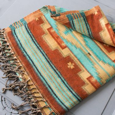 Tibetan woolen scarf blue and brown