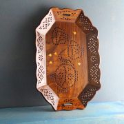 Indian handicraft wooden tray for service Large