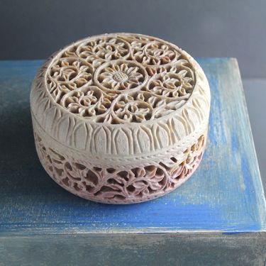 Indian soapstone box handicraft