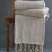 Indian cotton sofa throw light brown and white