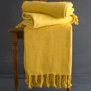 Indian cotton sofa throw yellow