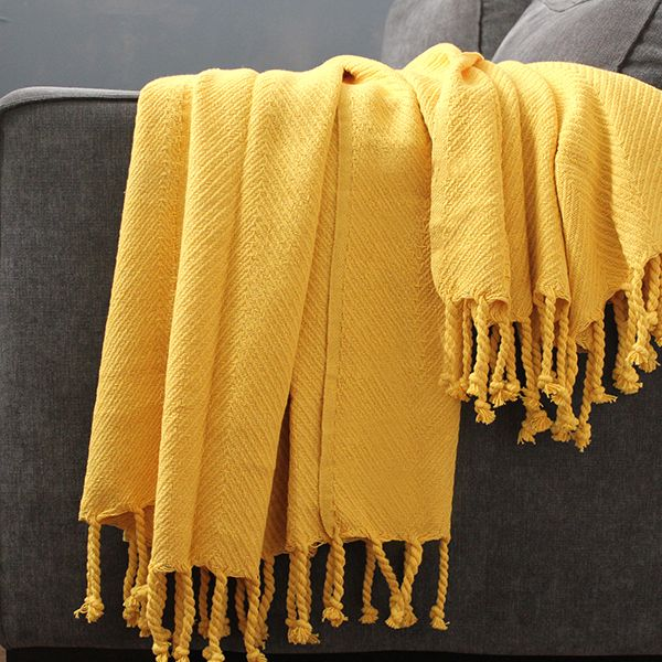 Indian Yellow Cotton Sofa Throws