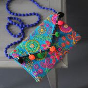 Indian handicraft small handbag Kuch velvet blue