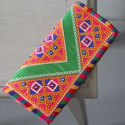 Indian handicraft small handbag Kuch green