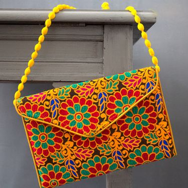 Indian handicraft small handbag Kuch velvet yellow