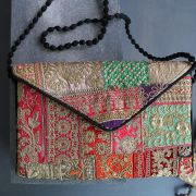 Indian handicraft handbag Jari patchwork