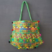 Indian handicraft handbag Funda green