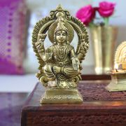 Indian hindu goddess Lakshmi brass statue