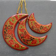 3 Christmas moons red ornament