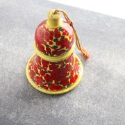 Suspension cloche indienne en papier mâché rouge