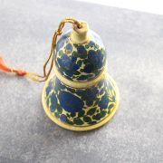 Suspension Cloche indienne en papier mâché bleue