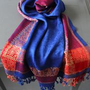 Indian mixed cotton scarf blue and red