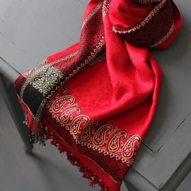 Indian mixed cotton scarf red color