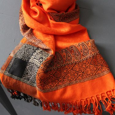 Indian mixed cotton scarf orange color