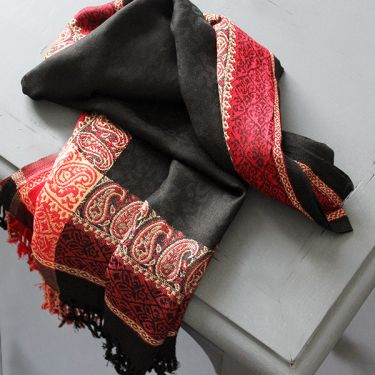 Indian mixed cotton scarf black and red