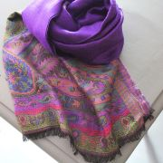 Indian Jamawar cotton scarf violet