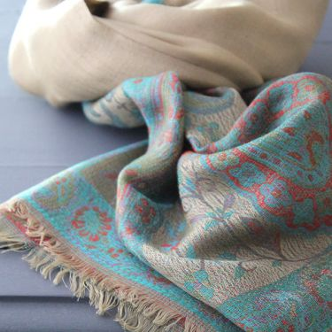 Indian Jamawar cotton scarf cyan and beige