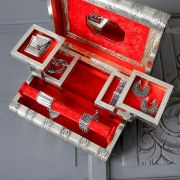 Indian wooden jewelry box silver