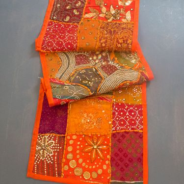 Tissu mural indien Patchwork orange