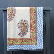 Indian printed cotton table cover blue and pink