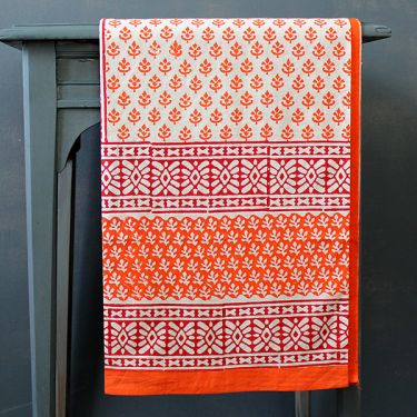 Indian printed cotton table cover orange and red