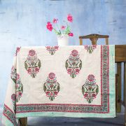 Indian handicraft printed table cover pink and cyan