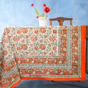 Indian printed cotton table cover orange and green