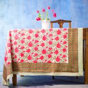 Indian printed cotton table cover pink and green