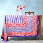Indian printed cotton table cover blue and red