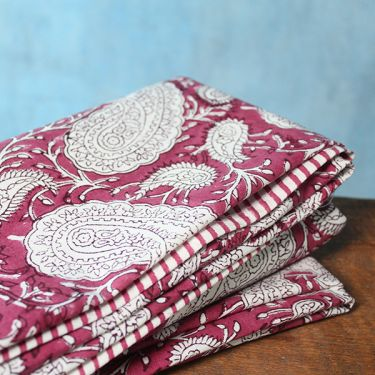 Indian printed cotton table cover yellow and white