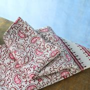 Indian handicraft printed table cover pink and brown