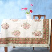 Indian handicraft printed table cover pink and green