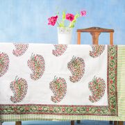 Indian handicraft printed table cover green and red