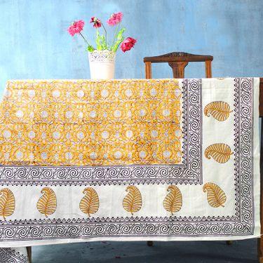 Indian printed cotton table cover yellow and brown