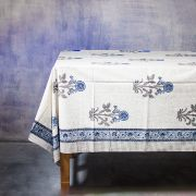 Indian printed cotton table cover grey and blue