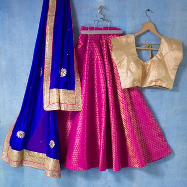 Indian skirt Lehenga with Chuni blue and pink