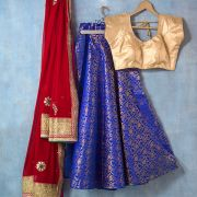 Indian skirt Lehenga with Chuni red and blue