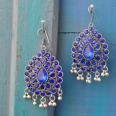 Indian earrings handicraft navy blue jewel