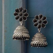 Indian earrings black Jhumki jewel