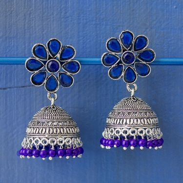 Indian earrings blue Jhumki jewel
