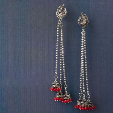 Indian earrings red long Jhumki jewel